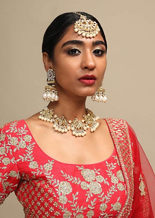 Gold Plated Ethnic Polki Choker Adorned With Moti And Beads By Kohar