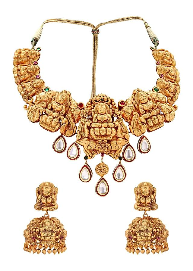 Gold Plated Necklace And Earrings Set With Dangling Imitation Polki Online - Joules By Radhika