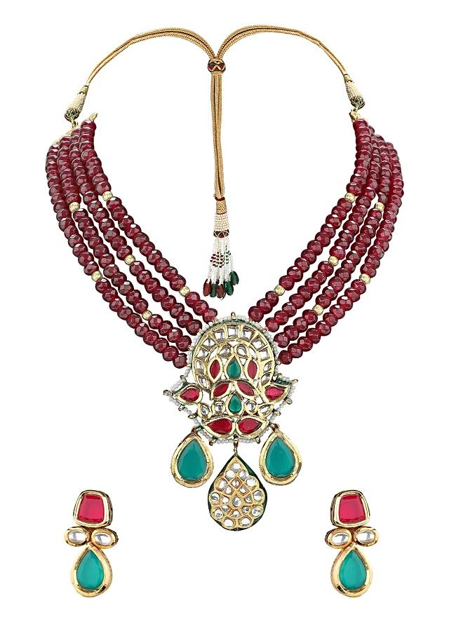 Gold Plated Necklace And Earrings Set With Polki, Red Agate Beads And Red And Green Hydro Online - Joules By Radhika