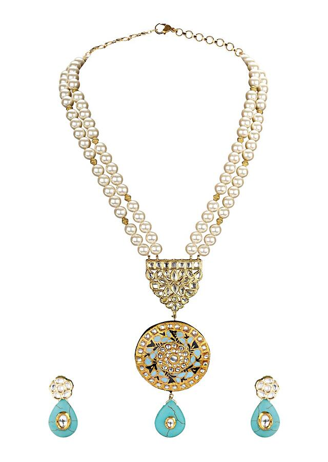 Gold Plated Necklace Set With Polki, Meenakari, Turquoise Drops And Shell Pearls Online - Joules By Radhika