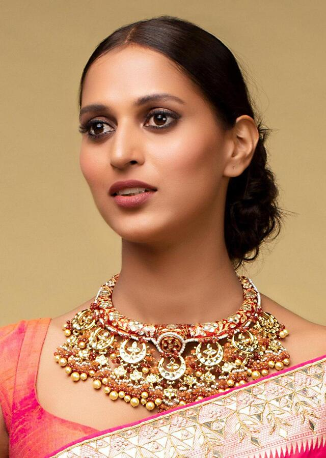 Gold Plated Round Studs With Crystals, Beads And Pearls In Floral Pattern Kohar By Kanika