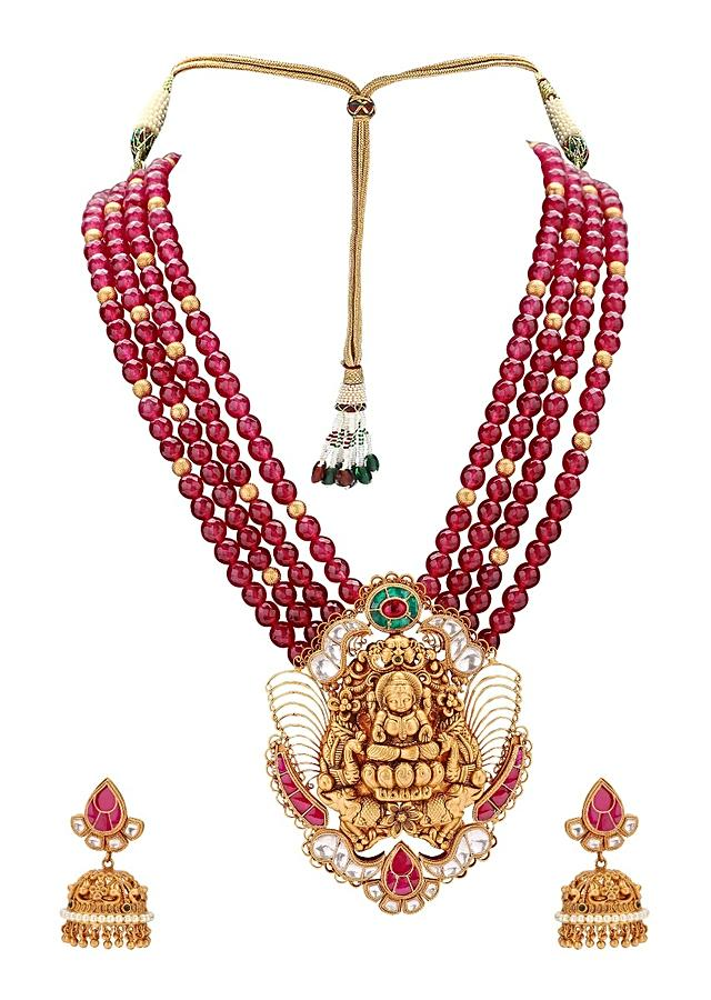 Gold Plated Set With Red Agate Beads, Carved Pendant, Polki, Hydro Rubies And Emerald Online - Joules By Radhika