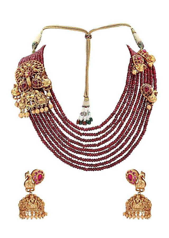 Gold plated Set With Ruby Pendant And Red Agate Bead Strings Online - Joules By Radhika