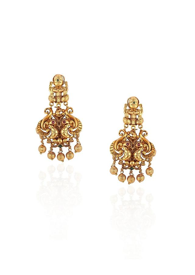 Gold Plated Temple Earrings Accented With Rubies And Emeralds Online - Joules By Radhika