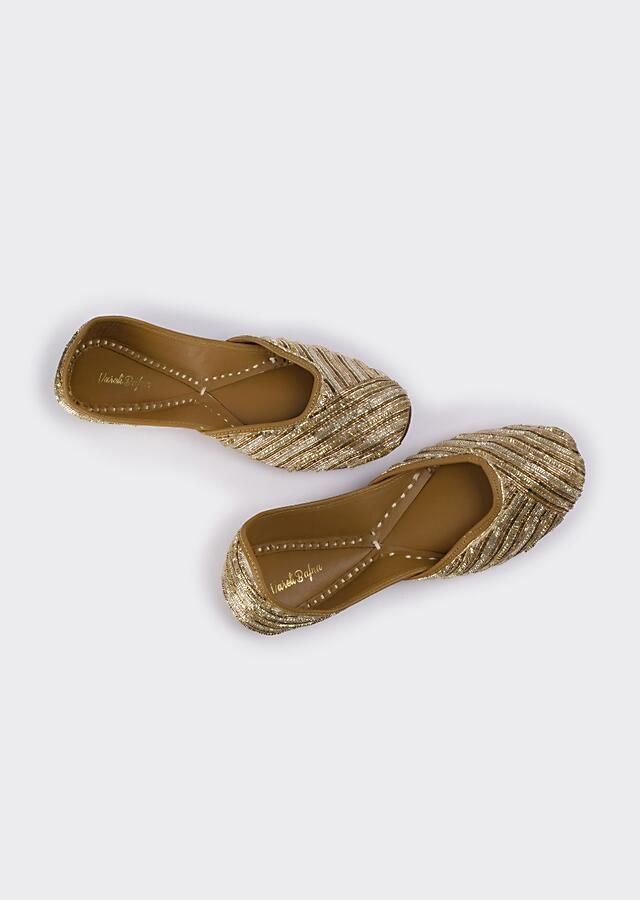 Golden And Silver Juttis In Linen With Zari Work In Linear Motifs By Vareli Bafna