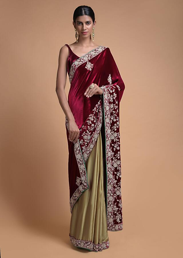 Golden Beige Half And Half Saree With Cherry Red Pallu In Velvet Online - Kalki Fashion