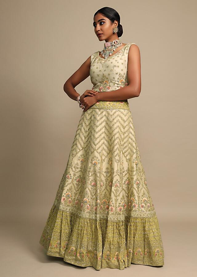 Golden Beige Lehenga With Ochre Gold Frill With And Floral Heritage Embroideries Of Resham And Cut Dana Online - Kalki Fashion