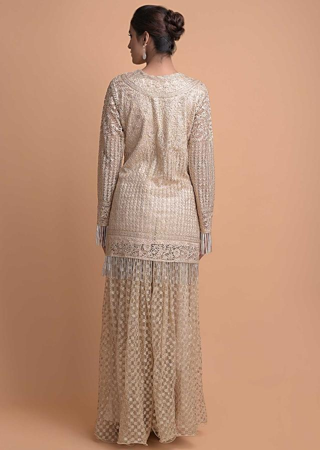 Golden Beige Palazzo Suit In Embellished Net With Cut Dana Fringes And Matching Palazzo Bottoms Online - Kalki Fashion