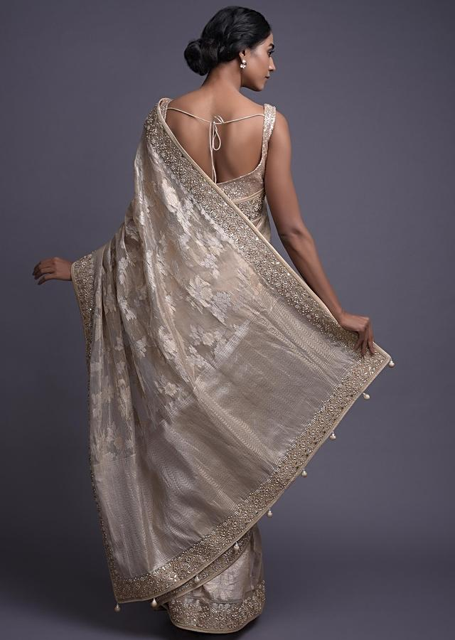 Golden Beige Saree In Jacquard Silk With Weaved Floral Jaal Online - Kalki Fashion