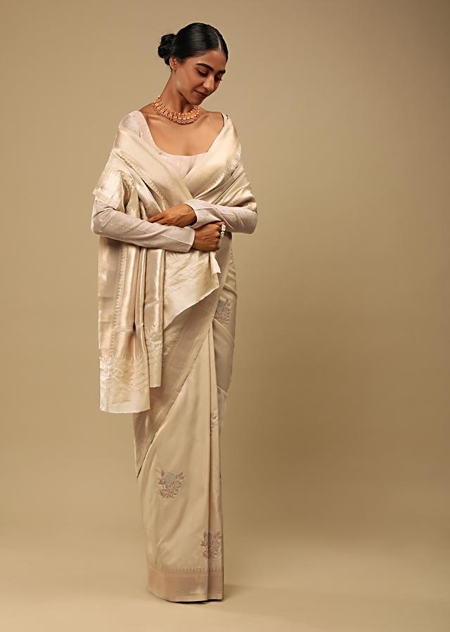 Golden Beige Saree In Pure Handloom Silk With Golden And Silver Woven Floral Buttis And Unstitched Blouse Online - Kalki Fashion