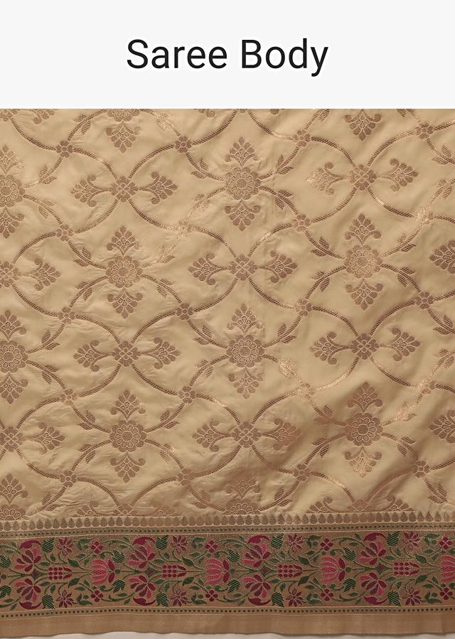 Golden Beige Saree In Pure Handloom Silk With Woven Jaal, Multicolored Floral Pallu And Unstitched Blouse Online - Kalki Fashion