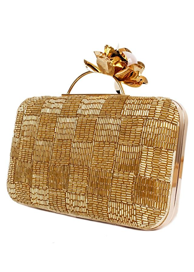 Golden Box Clutch With Cut Dada Work In Checks Design And 3D Flower On The Handle Online - Kalki Fashion