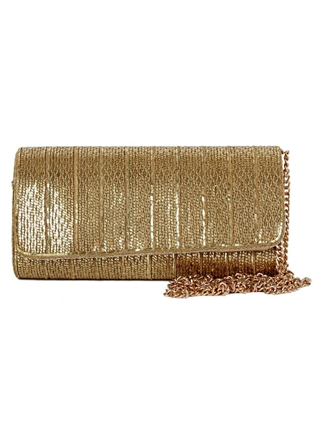 Golden Clutch Wrapped With Chain Material Online - Kalki Fashion
