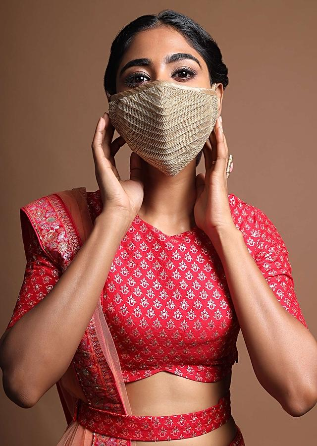 Golden Face Mask In Embroidered Mesh Fabric With Golden Piping Online - Kalki Fashion