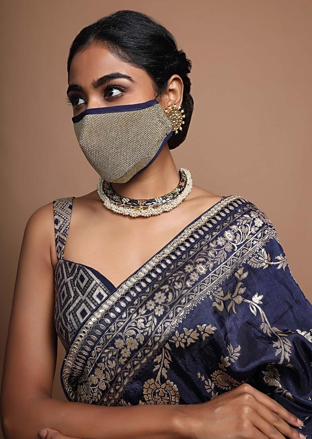 Golden Face Mask In Embroidered Mesh Fabric With Navy Blue Piping Online - Kalki Fashion
