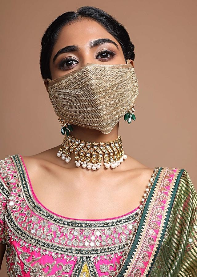 Golden Face Mask In Embroidered Mesh Fabric With Striped Design And Golden Piping Online - Kalki Fashion