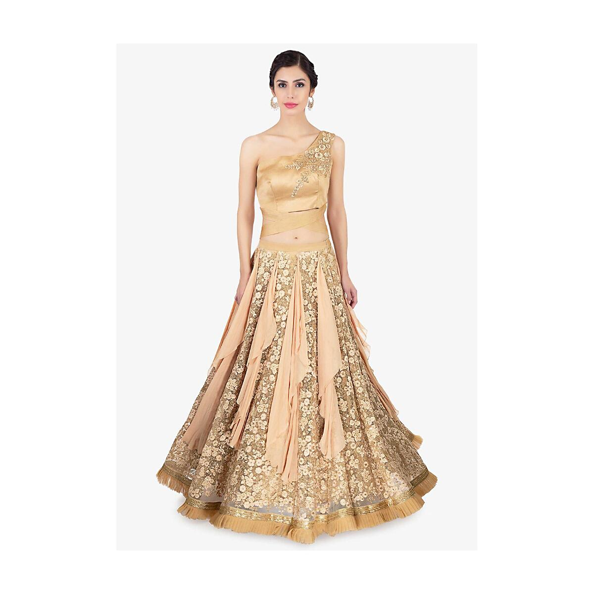 Golden lehenga in alternate kali paired with a one shoulder organza blouse  only on Kalki 2483d2f48