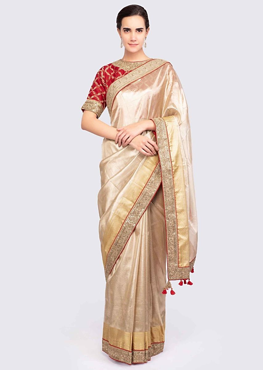 biggest discount fashionable patterns wholesale outlet Golden Saree In Linen With Contrasting Red Brocade Silk Blouse Online -  Kalki Fashion