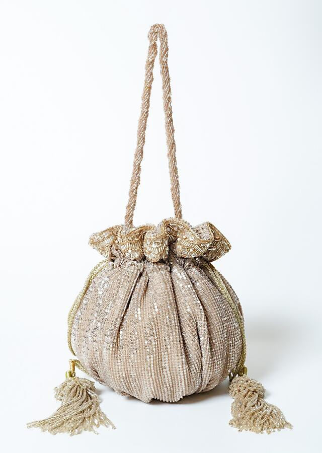Golden Potli Bag In Sequins Fabric With Cut Dana Tassels And Handle By Solasta