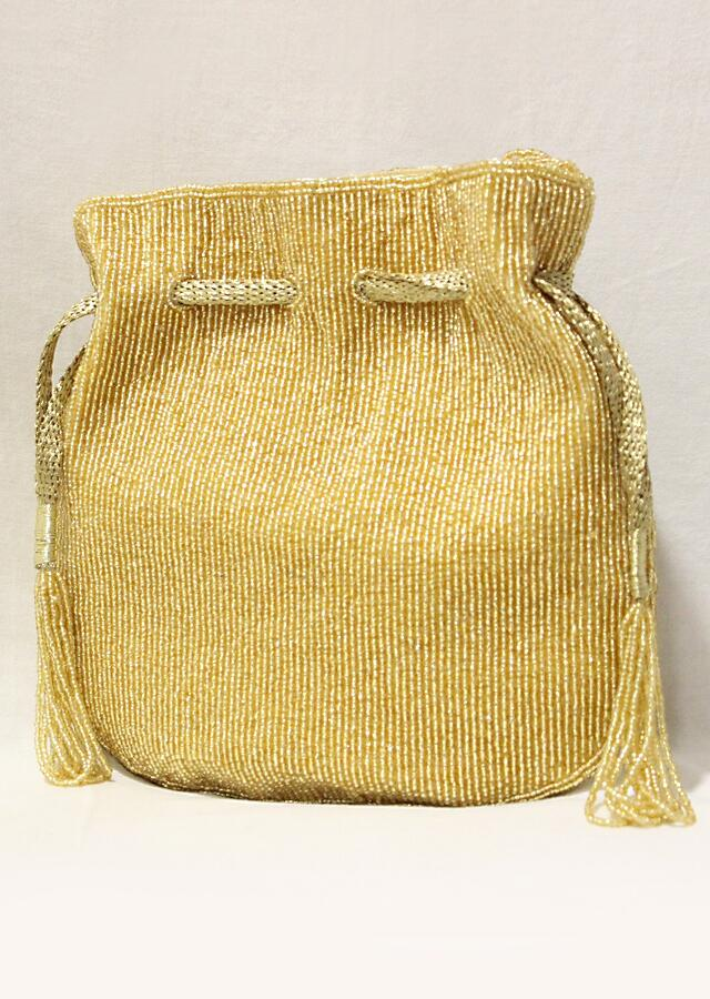 Golden Potli In Raw Silk With Japanese Bugle Beads Embroidered Scallop Design Online - Kalki Fashion