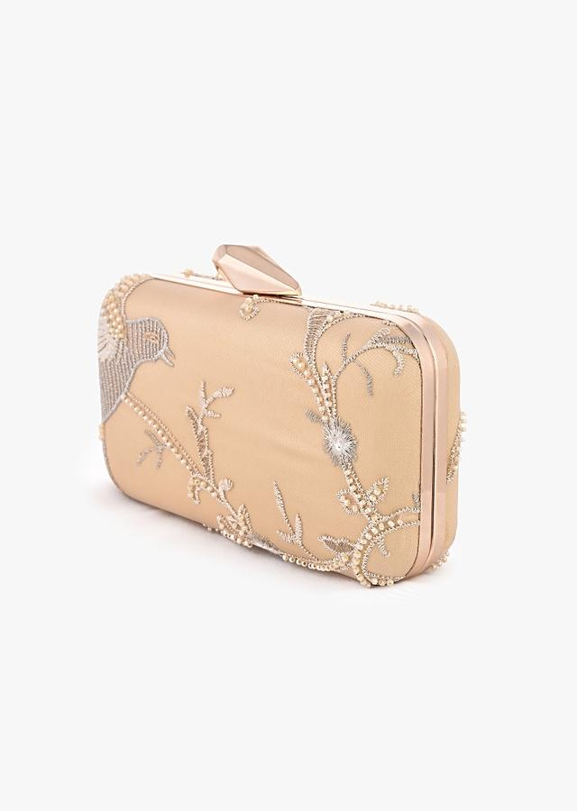 Golden Rounded Box Clutch With Embroidered Net Adorned In Moti Beads And Zari In Bird Motifs Online - Kalki Fashion