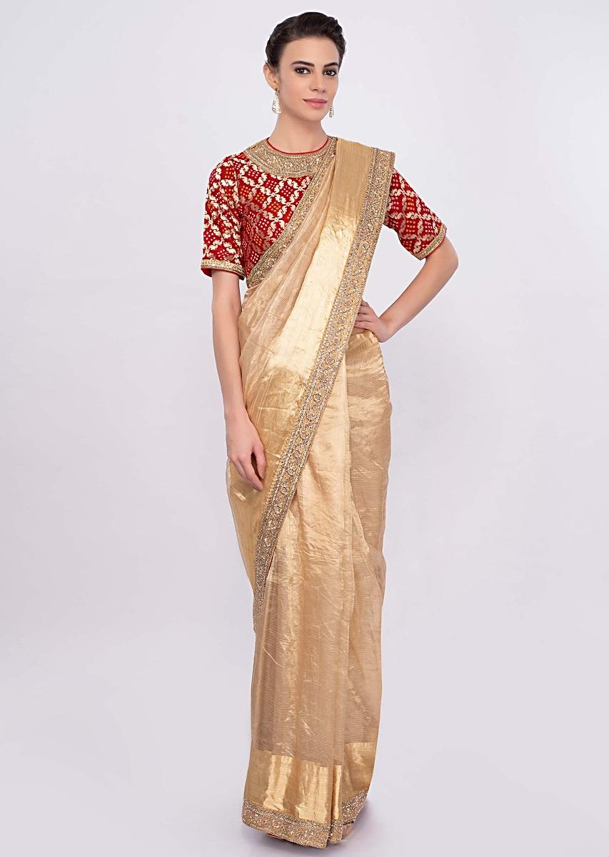 667c960adf Golden sheer silk saree with embroidered border only on Kalki