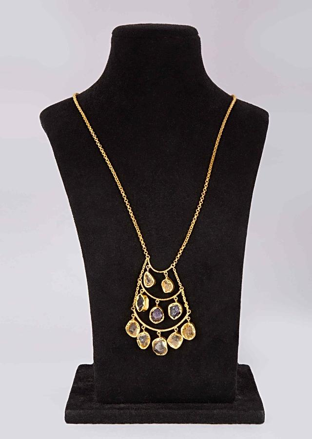 Golden sleek chain party wear necklace with  triple layer pendant adorn in semi precious stone only on Kalki