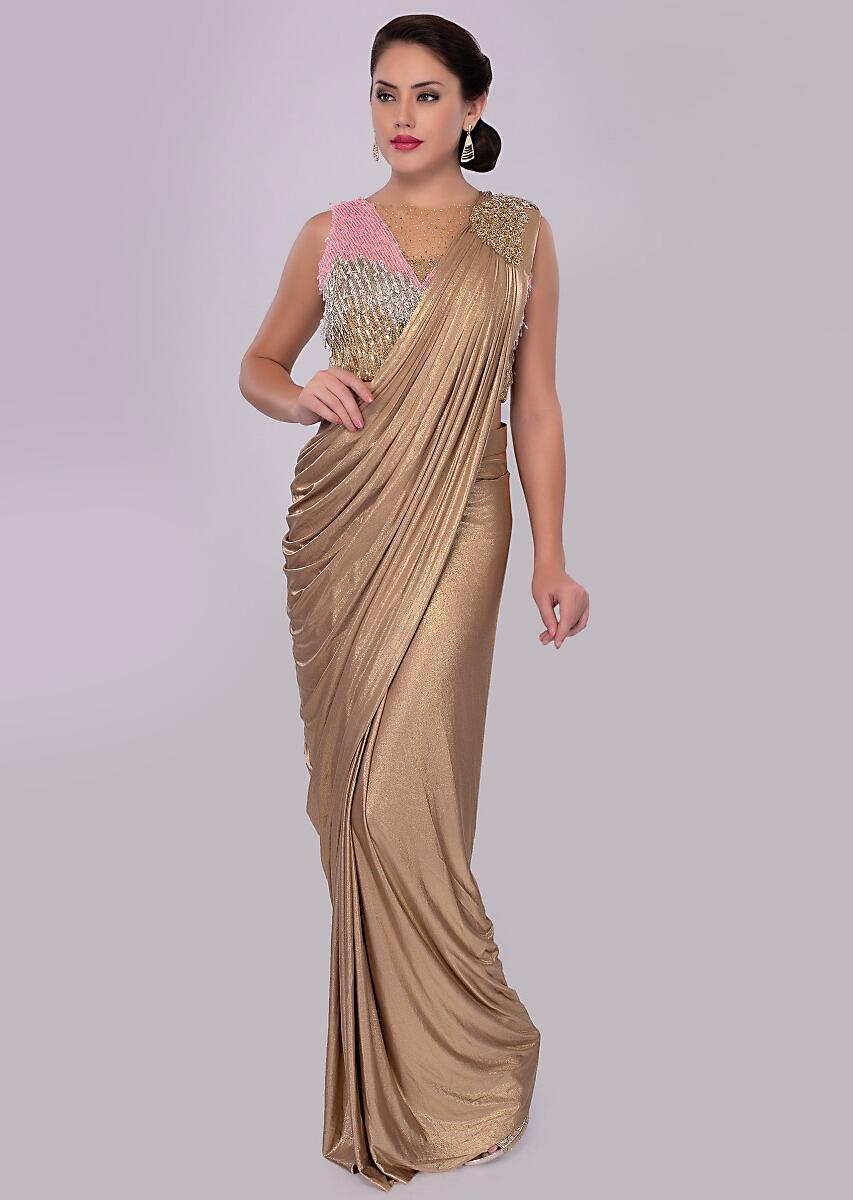 916fd48efac35 Golden wrap around shimmer lycra saree with multi color sequins net blouse  only on kalkiMore Detail