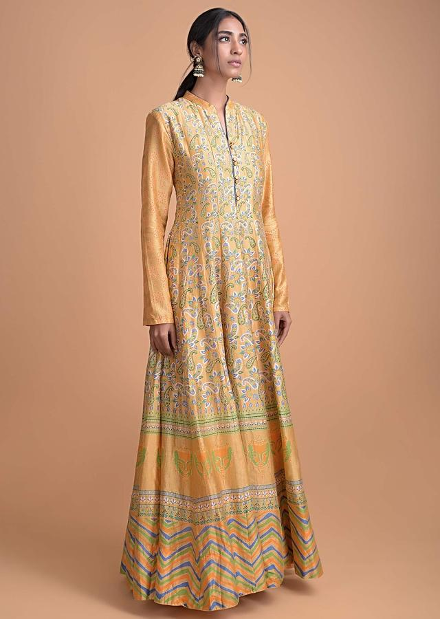 Golden Yellow Anarkali Suit With Printed Floral And Paisley Pattern All Over Online - Kalki Fashion