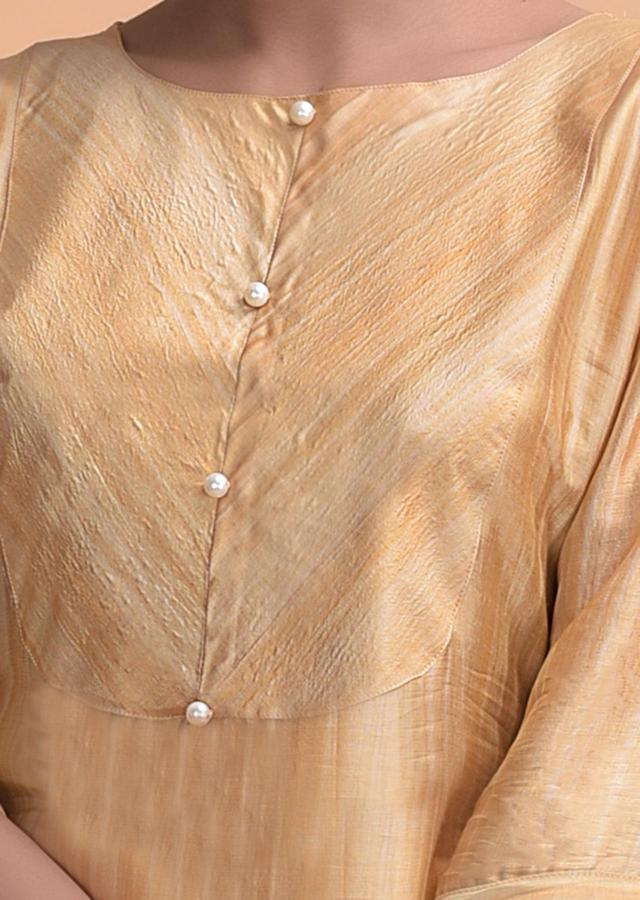 Golden Yellow Kurti In Crepe With Pearls On The Placket Online - Kalki Fashion