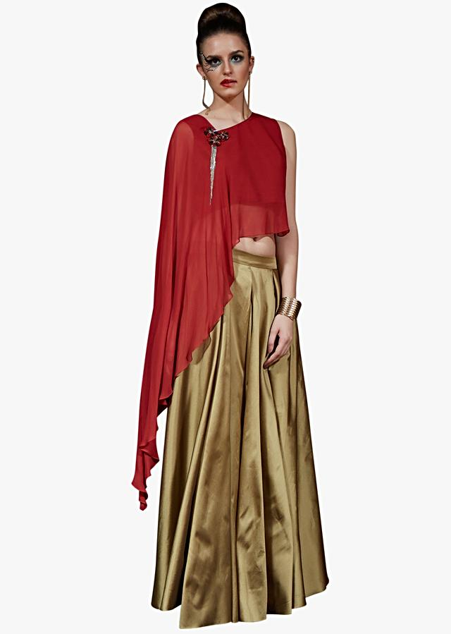 Golden Long Skirt Matched With Red Cape Top Adorn In Fancy Embroidered Tassel Online - Kalki Fashion