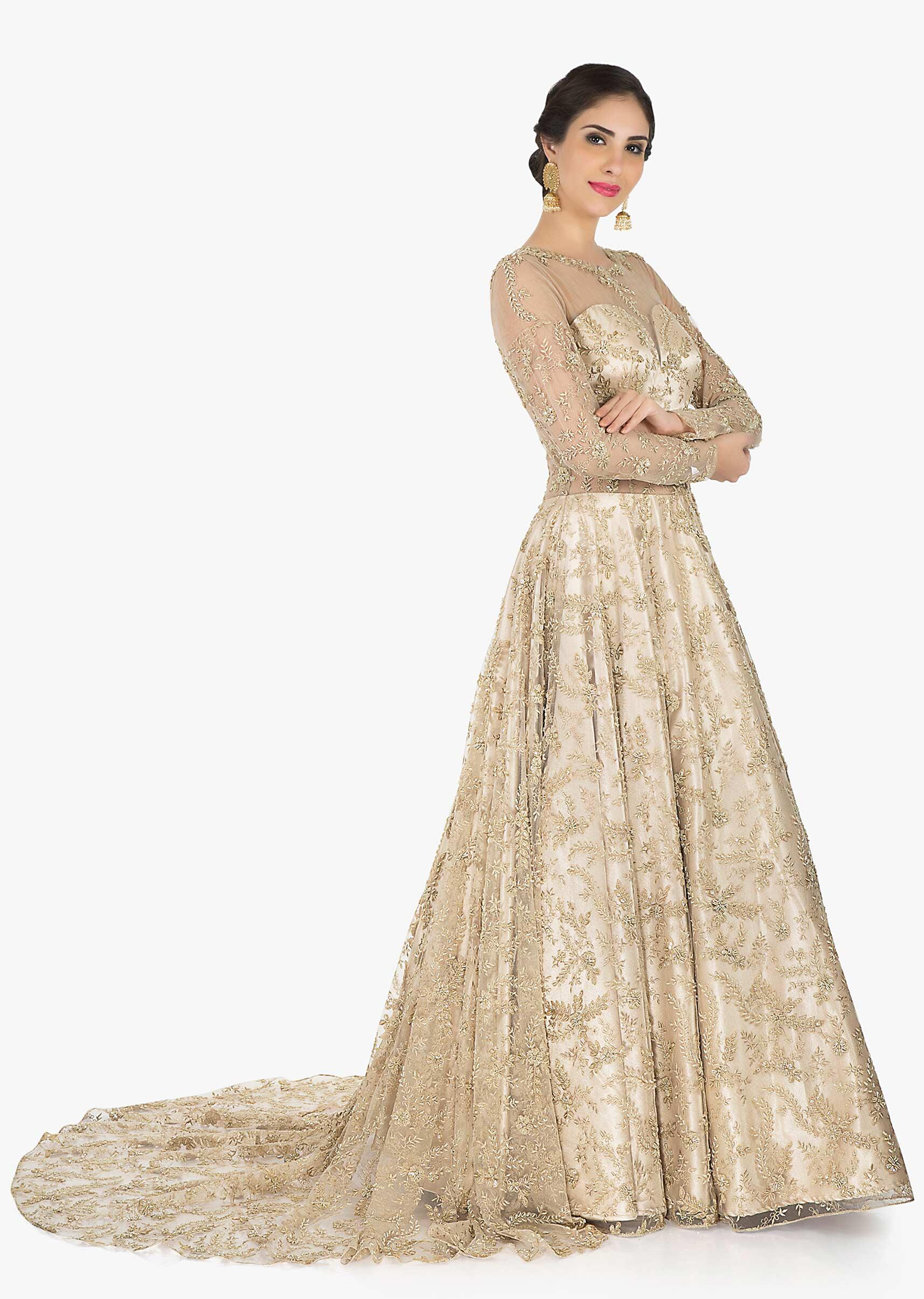 24c8a22d27 Golden net gown adorn in cutdana and zari embroidery work only on Kalki