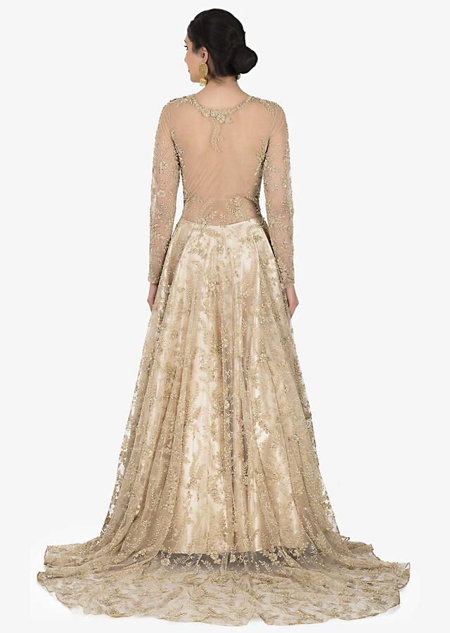 Golden Gown In Net With Cutdana And Zari Embroidery Work Online - Kalki Fashion