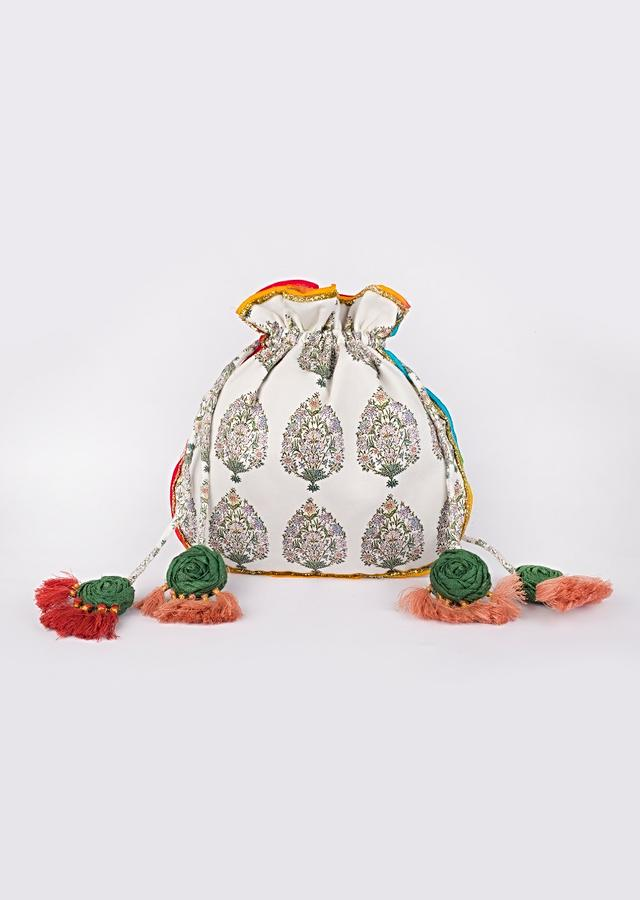 White Potli In Printed Fabric Highlighted With Gotta and Colourful lace By Vareli Bafna