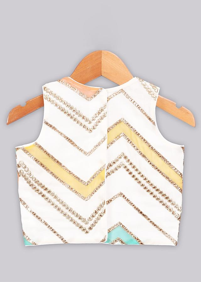 Gotta and applique embroidered multi color top with sequins embroidered top Online - Free Sparrow