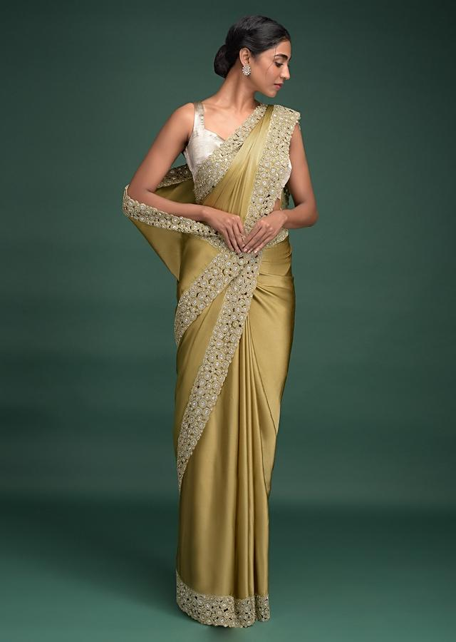 Granola Gold Saree In Satin With Cut Work Border Adorned With Beads And Kundan Online - Kalki Fashion