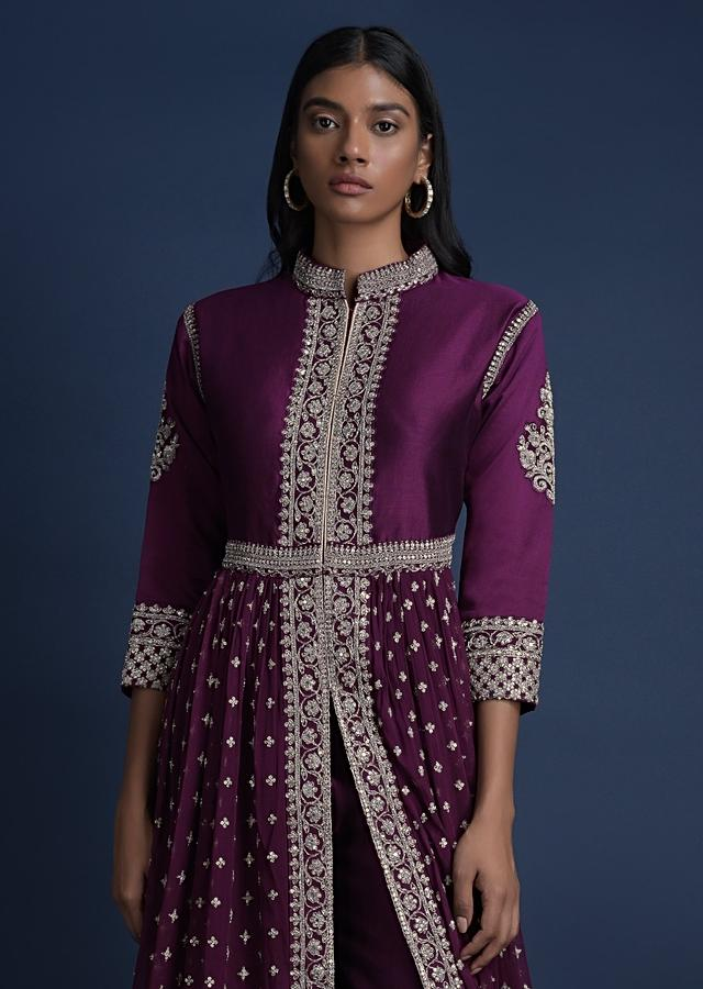 Grape Purple Anarkali Suit With Front Slit And  Embroidered Buttis Online - Kalki Fashion