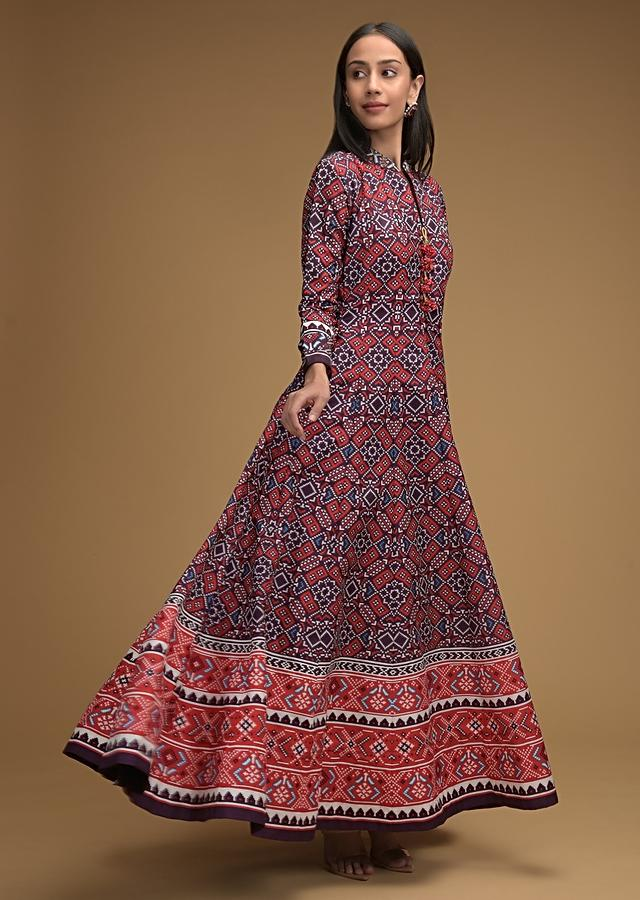 Grape Purple Anarkali Suit With Patola Printed Jaal And Contrasting Red Dupatta Online - Kalki Fashion