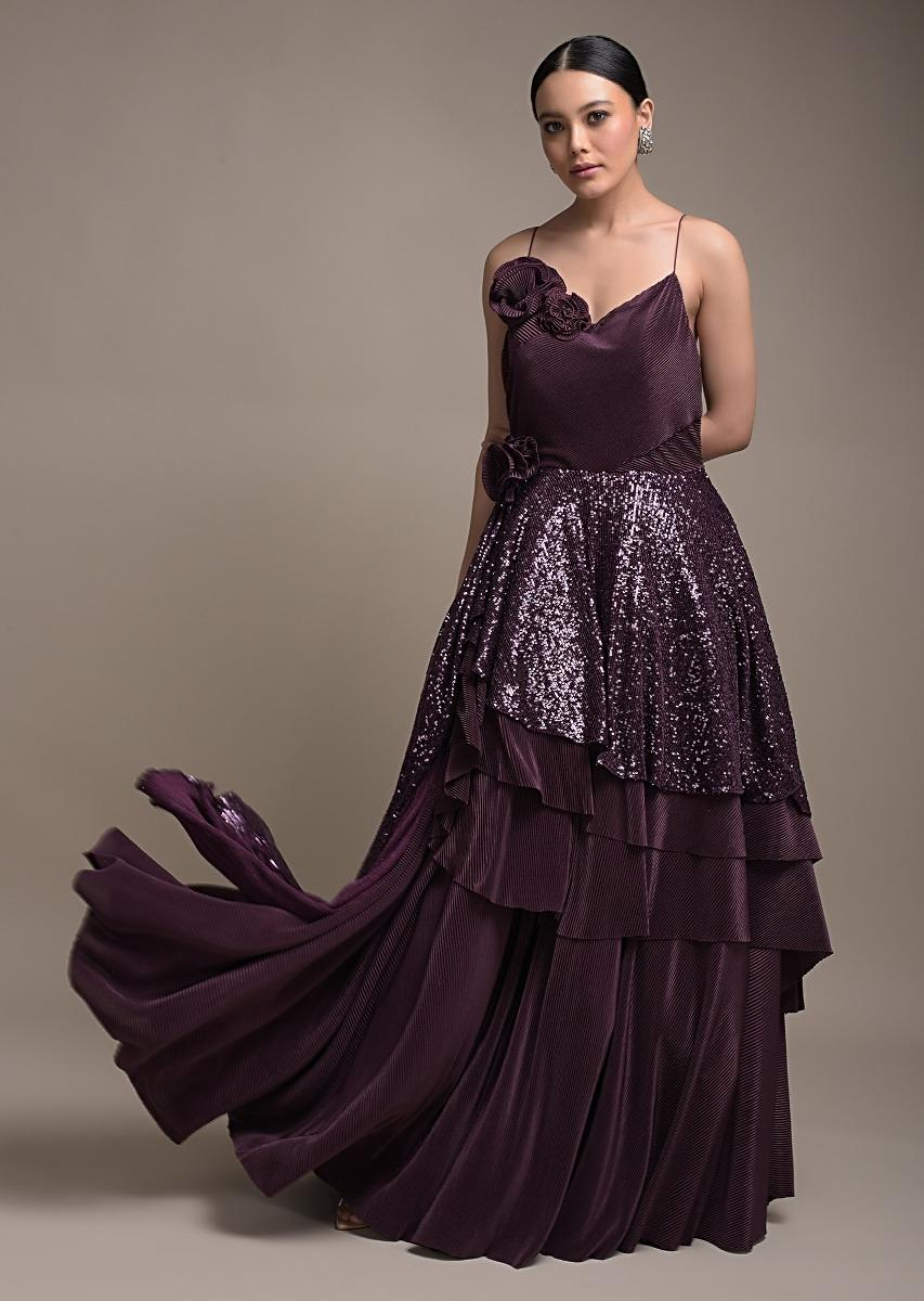Grape Purple Gown In Crushed Lycra With Fancy Layered Waistline And 3D Flowers Online - Kalki Fashion