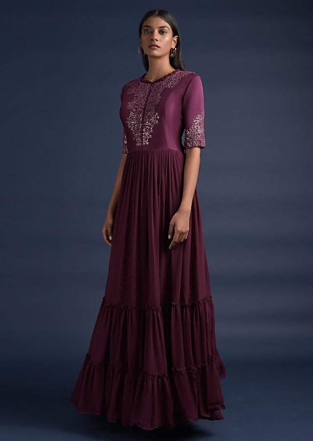 Grape Purple Indowestern Gown With Tiered Hem And Checks Weaved Organza Under Layer Online - Kalki Fashion
