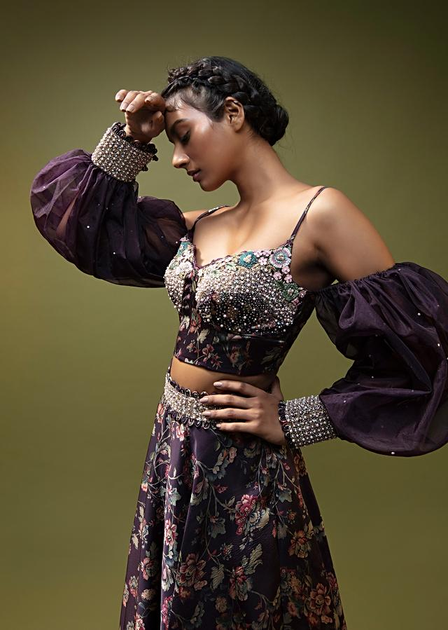 Grape Purple Lehenga Choli In Floral Printed Satin With Cold Shoulder Balloon Sleeves And Colorful Sequins Embroidery Online - Kalki Fashion