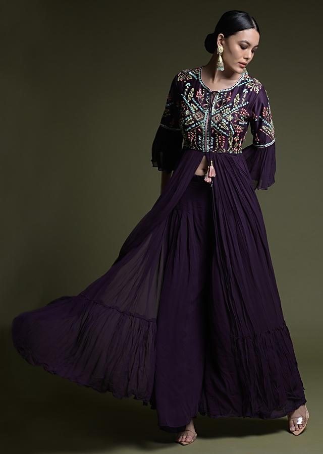 Grape Purple Palazzo Suit With Front Slit Kurti Adorned In Hand Embroidered Colorful Sequins And Resham Work Online - Kalki Fashion