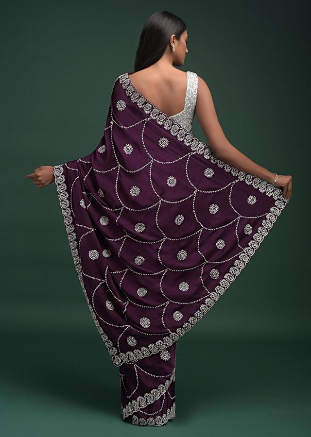 Grape Purple Saree In Satin Blend With Zardozi And Stone Work In Scallop And Round Motifs Online - Kalki Fashion