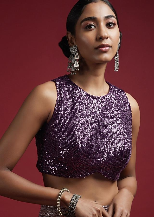 Grape Purple Sleeveless Blouse In Sequins Fabric With Curved Hemline And Back Zip Closure Online - Kalki Fashion