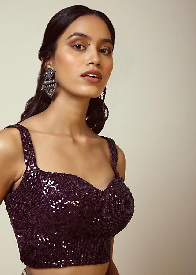 Grape Purple Sleeveless Blouse With Sweetheart Neckline And Heavily Embellished In Shimmering Sequins Online - Kalki Fashion