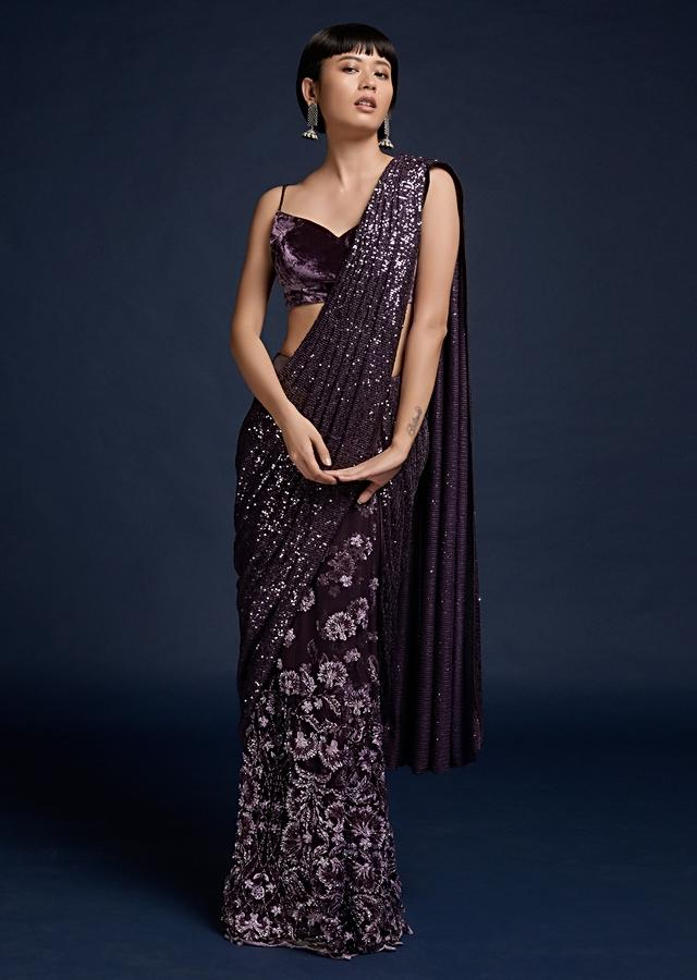 Grape Purple Ready Pleated Saree In Cut Dana Embellished Net With A Sequins Pallu And Velvet Crop Top Online - Kalki Fashion