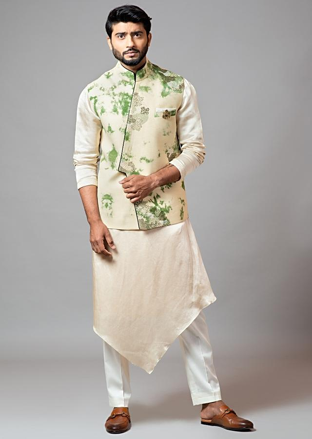 Grass Green And Cream Nehru Jacket With Tie And Dye Design And Asymmetric Front Detailing By Smriti Apparels