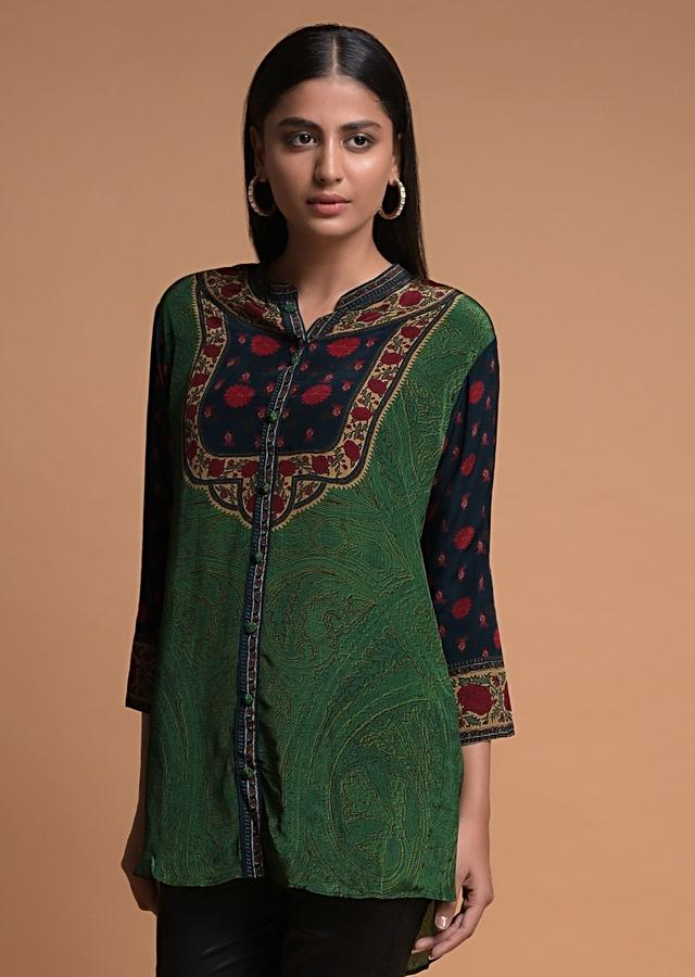 Grass Green Short Kurti In Crepe With Floral And Abstract Print Online - Kalki Fashion