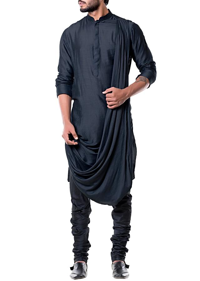 Grease Black Cowl Kurta Set Online - Kalki Fashion