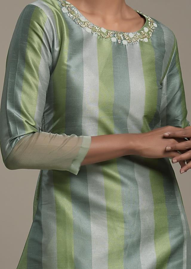 Green A Line Kurti In Silk With Printed Stripes In Shades Of Green And Embroidered Organza Tier On The Hem Online - Kalki Fashion